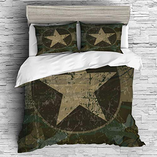 - 3 Pieces/All Seasons/Home Comforter Bedding Sets Duvet Cover Sets for Adult Kids/Queen/Camo,Grunge Dusty Dirty Design with a Star in Circle Undercover War Theme,Army Gre