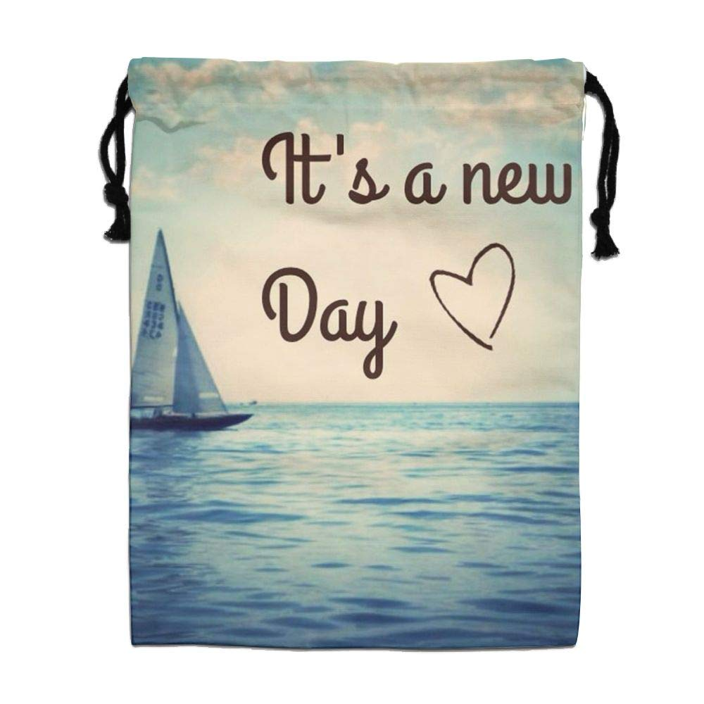 HACVREQ Personalized Drawstring Bag-Enjoy Life New Day Holiday/Party/Christmas Tote Bag,15.7 X 11.8In