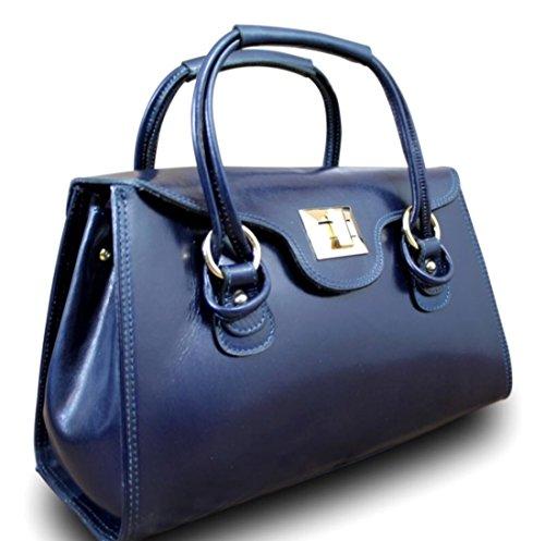 en et Bleu Bauletto SUPERFLYBAGS Modèle en Sac Italie brillant cuir Fabriqué Véritable foncé a Martina Sac lisse main qEwYaw