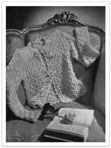 #2067 DAINTY BED JACKET VINTAGE KNITTING - Pattern Knitting Bed Jacket