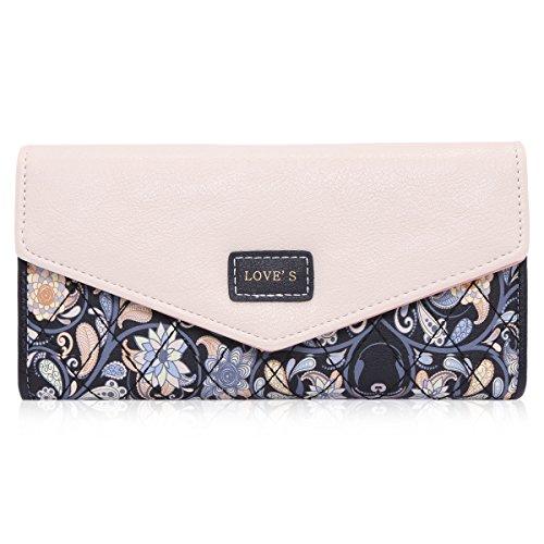 Damara Elegant Blume Muster Frisch Fashion Süß Elegant Damen Portemonnaie Geldbörse, Schwarz