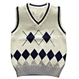 Happy Cherry Boys School Uniforms V-Neck Cable-knit Sweater Vest White 2T