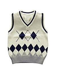 Happy Cherry Boys School Uniforms V-Neck Cable-knit Sweater Vest White 2T