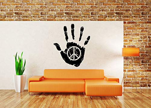 Vinyl Sticker Peace Symbol Hand Print Abstract Poster Pacifism Free Love Freedom Hippie Logo Sign Mural Decal Wall Art Decor ()