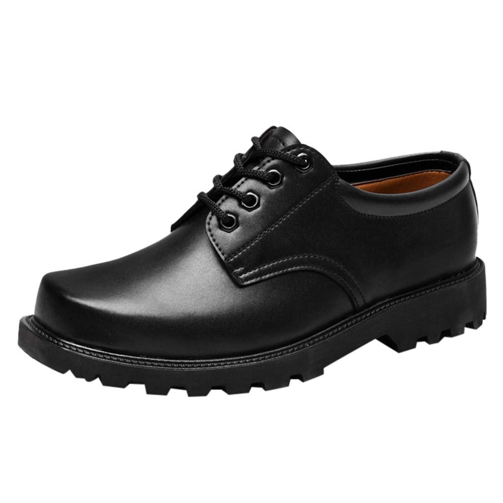 ZOMUSAR Boy Men's Tooling Leather Shoes Square Head Security Shoes Labor Insurance Shoes Black by ZOMUSAR