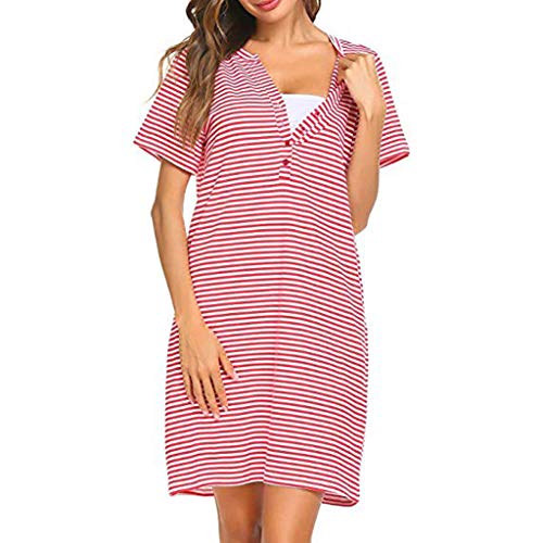 Breastfeeding Dress Women Casual Short Sleeve Cotton T-Shirt Pregnant Nursing Dress Knee Length Plus Size Nightdress Red -