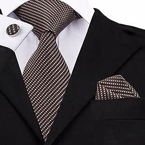 HYCZJH Striped Tie Gemelos Conjuntos Corbatas de Seda para Hombre ...