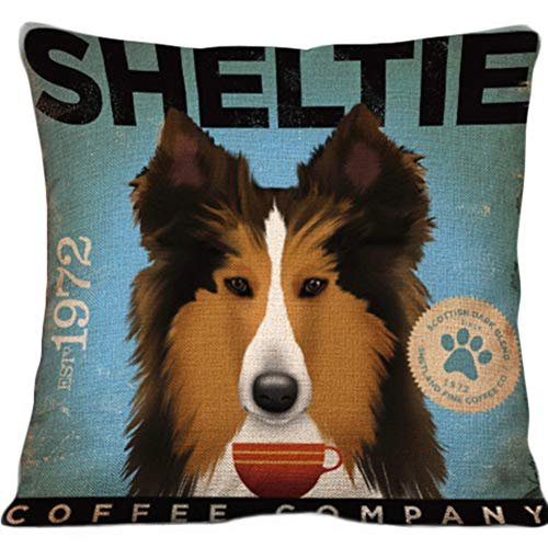 Cityeast Dog Pillow Cover 17 x 17 Inch Pet Gift Cotton Linen Square Decorative Pillow Protectors Sofa Body Nap Cushion Cover for Sleeping, Sheltie