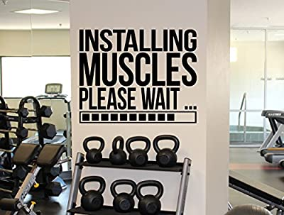 Gym Motivational Quote Wall Decal Installing Muscles Vinyl Sticker Fitness Wall Art Sport Decor 12(gqm)