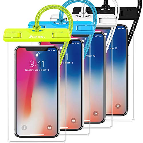 (Waterproof Phone Pouch, 4 Pack Ace Teah Universal Clear Waterproof Case for iPhone X 8 7 6s 6 Plus, Samsung Galaxy S8 S7, Google Pixel HTC and Other Cell Phone)