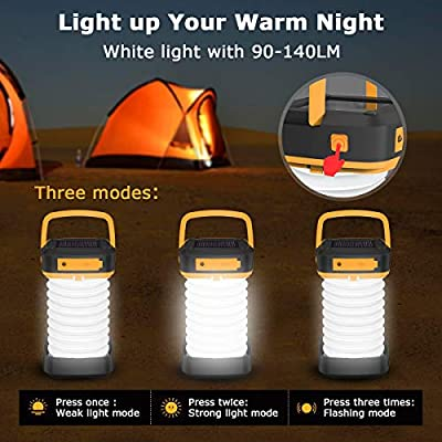 LED Camping Lantern Light - Quntis Rechargeable Led Camping Light - Portable Flashlight Solar Mini Torch Night Light for Outdoor Hiking Tent Garden Patio Emergencies - Collapsible and Waterproof