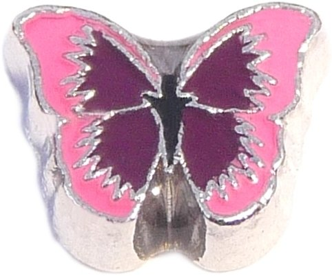 Pink And Purple Butterfly Floating Locket Charm