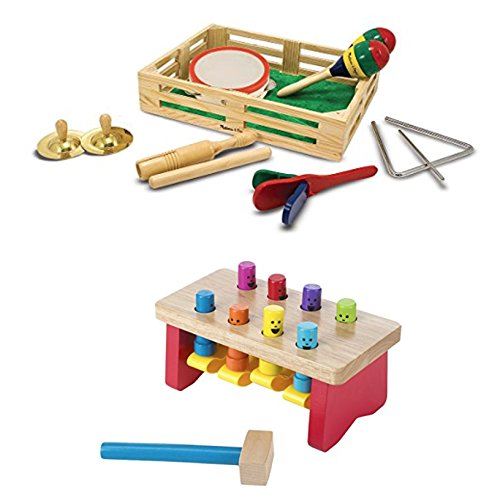 Bundle Includes 2 Items - Melissa & Doug Band-in-a-Box Clap! Clang! Tap! - 10-Piece Musical Instrument Set and Melissa & Doug Deluxe Pounding Bench Wooden Toy With Mallet