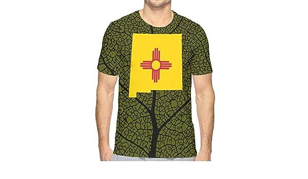 JJKKFG-H New Mexico Flag Map Mens Fashion Short-Sleeved T Shirts