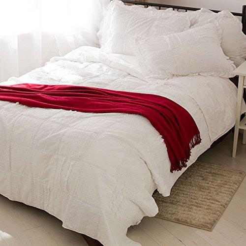 LELVA Handmade Cotton Patchwork Quilt Set Lace Ruffle Com...