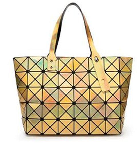Bolsas plegables Bolso de mujer de color láser Bolsa de compras Bolsas de hombro Totes Bolsa a cuadros Sac 8 * 7 Silver Gold