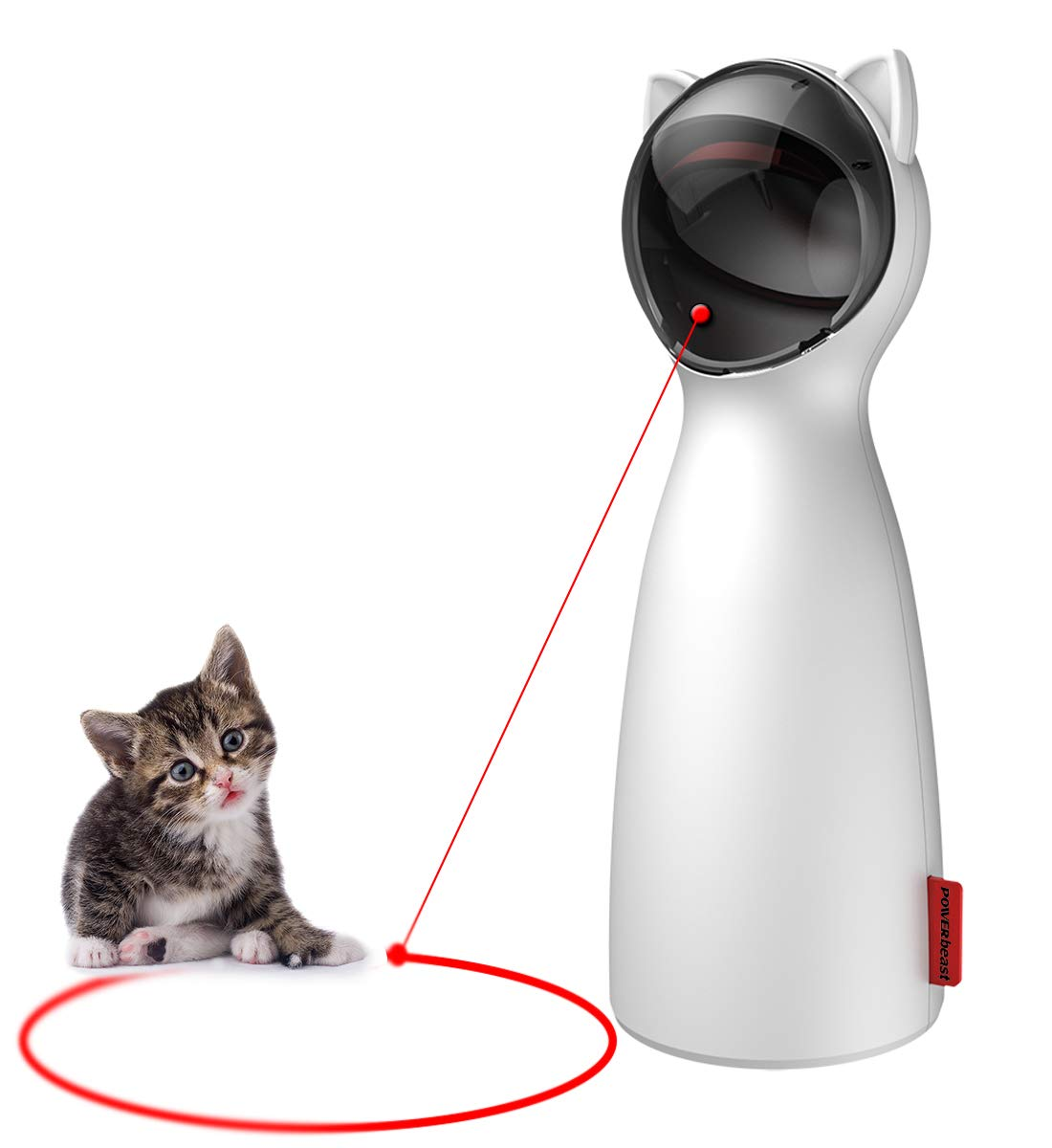 POWERbeast Laser Cat Toys Interactive - Pet Laser Pointer for Cats/Dogs with Automatic Rotating,Auto Shutdown/Startup for Catch and Training,5 Adjustable Rotating Height/Range,Cat Exercise Toys by POWERbeast