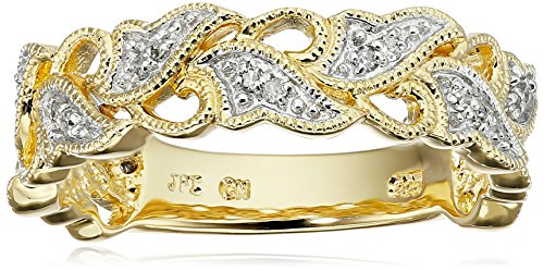 - Yellow Gold Plated Sterling Silver Leaves Diamond Band (1/10 cttw, I-J Color, I2-I3 Clarity), Size 7