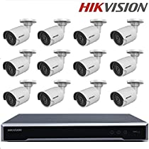 Hikvision Video Security System NVR DS-7616NI-K2/16P 2SATA 16POE + DS-2CD2035FWD-I H.265 3MP IP Camera 3MP mini ultra-low light Network Bullet IP Camera + Seagate 4TB HDD (16 Channel + 12 Camera, 3MP)