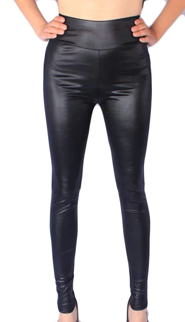 Cruiize Womens High Waist Leggings Plus Size Stretch Faux Leather Tights
