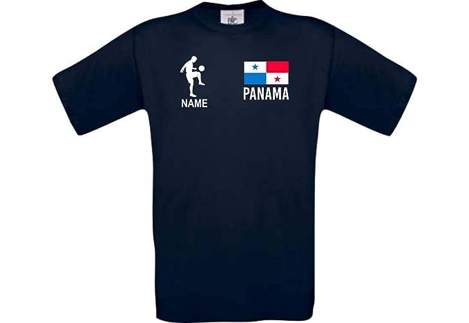 Shirtstown Camiseta De Hombres Camiseta de Fútbol Panamá con Su Nombre Deseado Estampado - Azul Marino