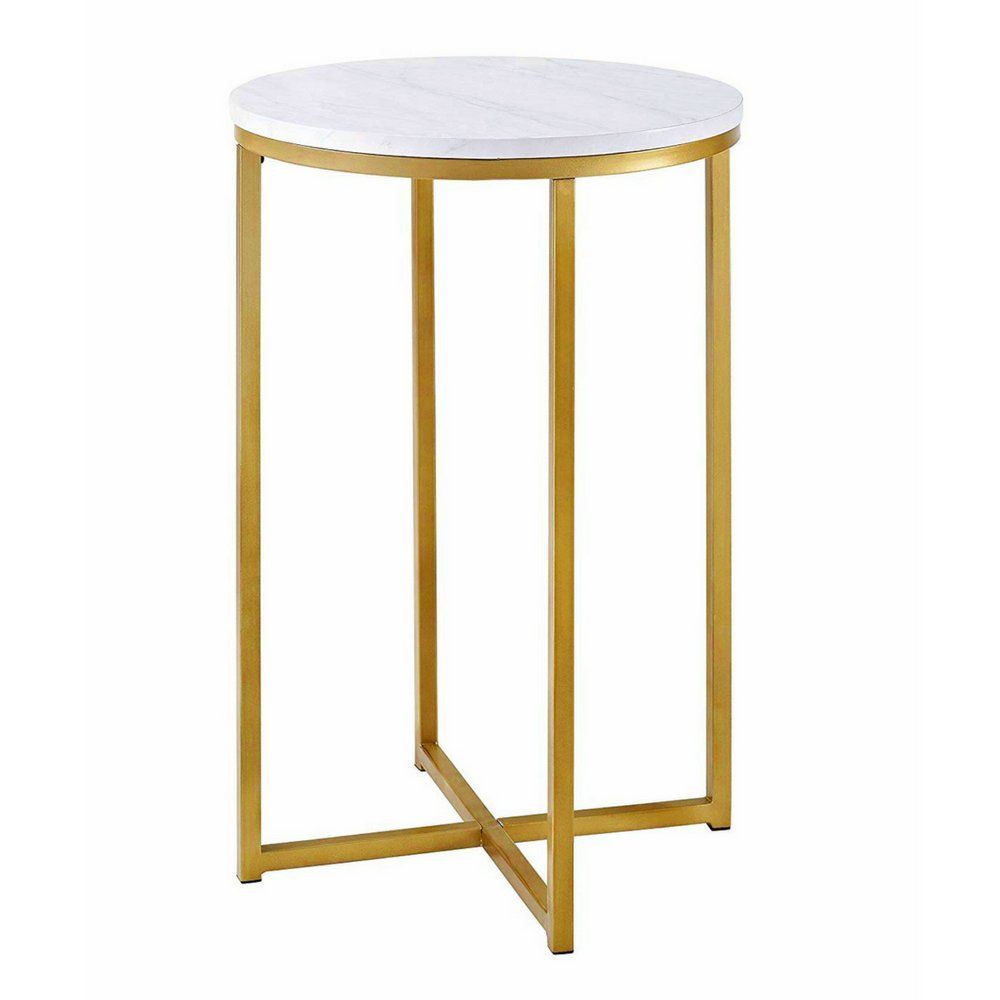 Victorian End Table Round Side Table Gold Faux Marble End Table Metal Nightstand Accent Table  Gold Metallic Base Victorian Contemporary Style Living Room Hallway Bed  Room ...