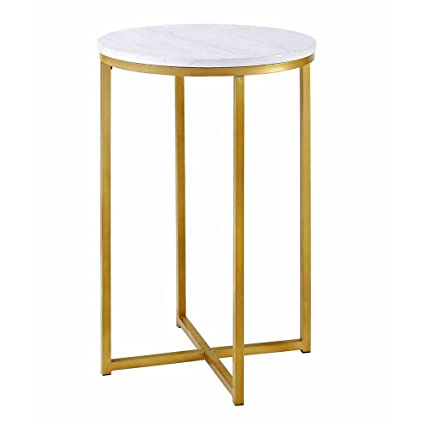 Charmant Round Side Table Gold Faux Marble End Table Metal Nightstand Accent Table  Gold Metallic Base Victorian