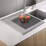 EMBATHER - Sturdy Extra Large Multipurpose -No Occupying Space Easily Store Heat Resistant Roll Up Dish Drying Rack - Fit for Stainless Steel Sink (20.8' x 18.1',Warm Gray)