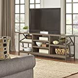 TRIBECCA HOME Lincoln Metal Accent Storage Media Console Sofa Table TV Stand, Distressed Brown