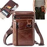 Aonet Men Purse Cell Phone Holster Case Belt Clip Phone Pouch Bag for iPhone, Samsung, Google and Other Phones Leather Crossbody Bag Travel Purse Waist Bag for Work - Brown (Color: 01#Brown, Tamaño: 01#Brown)