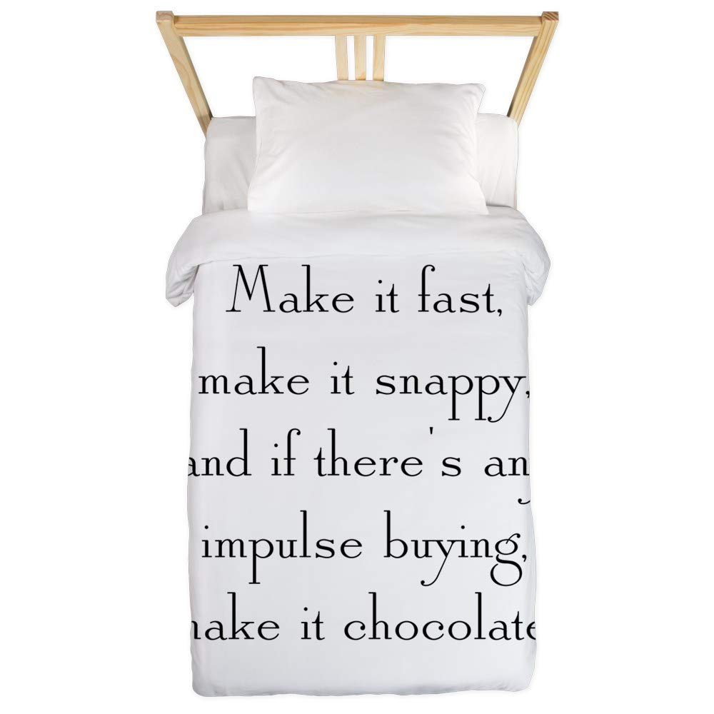 CafePress Make It Chocolate Twin Duvet Twin Duvet Cover, Printed Comforter Cover, Unique Bedding, Microfiber by CafePress
