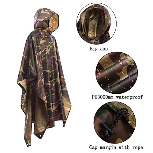 JTENG Rain Poncho Waterproof Ripstop Hooded US PVC Camouflage Rain Coat (Maple Leaf)