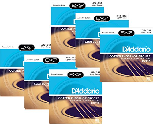 D'Addario EXP16 Coated Phosphor Bronze Light Acoustic Guitar Strings (Daddario Exp16 Acoustic Guitar Strings)