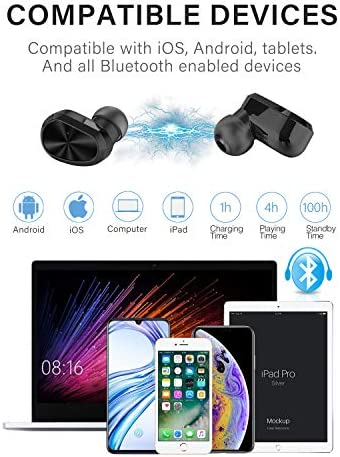 Arumei Bluetooth 5.0 Wireless Earbuds with Wireless Charging Case IPX6 Waterproof TWS Stereo in-Ear Headphones Grey