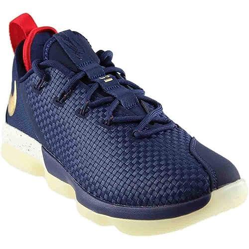 buy popular ade07 53e33 Nike Men s Lebron 14 XIV Low U.S.A Navy White Gold (11.5 D(