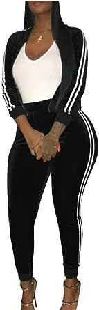 Womens Velvet Full-Zip Jacket Jogging Pants Suit Tracksuit