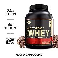 Polvo de proteína de suero de leche 100% estándar de Optimum Nutrition, moca capuchino, 5 libras