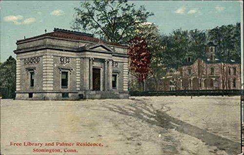 Free Library and Palmer Residence Stonington, Connecticut Original Vintage Postcard