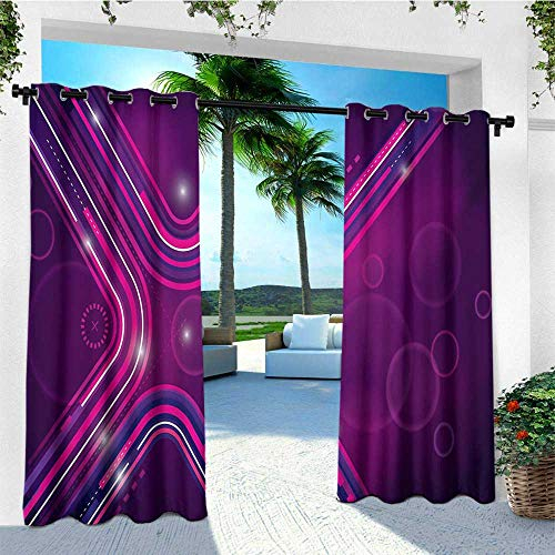 leinuoyi Eggplant, Outdoor Curtain Kit, Abstract Purple Parallel Lines in a Violet Environment with Transparent Circles, for Privacy W72 x L96 Inch Violet Pink ()