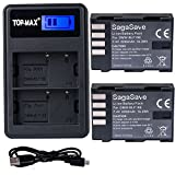 TOP-MAX 2-Pack of DMW-BLF19, DMW-BLF19e, DMW-BLF19PP Batteries and Dual USB Charger for Panasonic Lumix DC-GH5, DMC-GH3, DMC-GH3K, DMC-GH4, DMC-GH4K Digital Camera