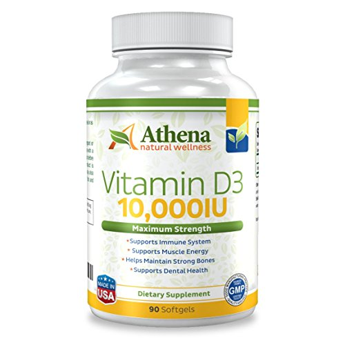 Athena - Vitamin D3 10,000IU High Strength - 90 Softgels Capsules - Supports Immune System, Muscle Energy, Strong Bones and Healthy Dental (Forte D3 Vitamin)