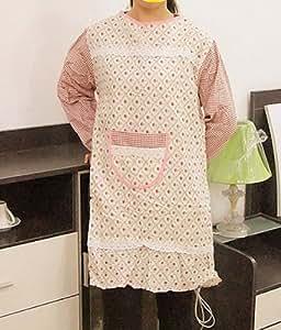 Ebuyingcity rosa en redes moda elegante manga larga estilo pastoral Antifouling Chef ama de casa hogar cocina algodón delantal fiesta vestido con bolsillos