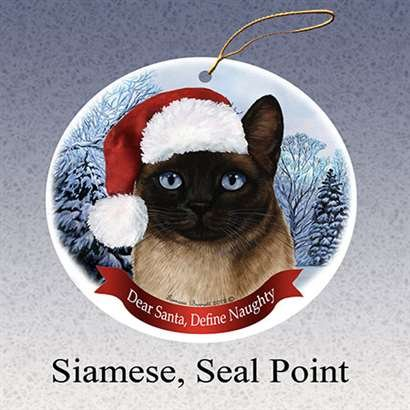 - HolidayGift Siamese, Seal Point Santa Hat Cat Porcelain Christmas Tree Ornament