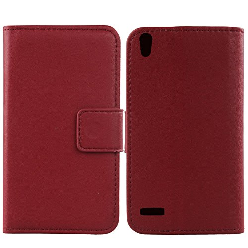 Gukas Design Genuine Leather Case For Huawei Ascend P6 Wallet Premium Flip Protection Cover Skin Pouch With Card Slot (Dark Red)