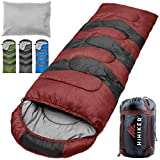 HiHiker Camping Sleeping Bag + Travel Pillow w/Compact Compression Sack - 4 Season Sleeping Bag for Adults & Kids - Lightweight Warm and Washable, for Hiking Traveling & Outdoor Activities (Red)