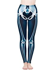 Abyelike Women's Girls Fashion Digital Printed Leggings Full-Length Skeleton Bone Skull Tight Stretch Leggings Tights