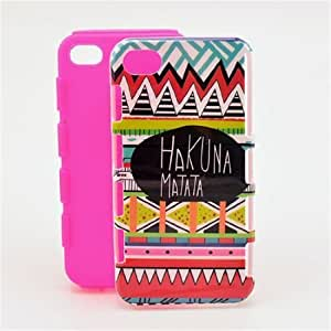 Hakuna Matata Graphic, Snap-on 2in1 Soft + Hard Case Back Cover Skin For Apple Iphone 4 4G 4S