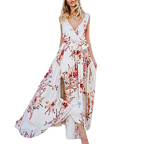 Londony✔ Women's Summer Deep V Neck Maxi Long Beach Dress Casual Button Up Floral Print Split Dresses Bohemian Tops White ()