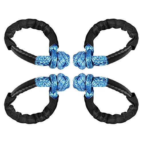 Soft Shackle Rope Single Leg Max 38,000lbs for Recovery Towing ATV UTV SUV Truck with Protective Sleeve (4pcs - Blue)