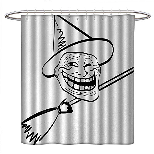 Anniutwo Humor Shower Curtain Collection by Halloween Spirit Themed Witch Guy Meme LOL Joy Spooky Avatar Artful Image Print Custom Made Shower Curtain W48 x L84 Black and White